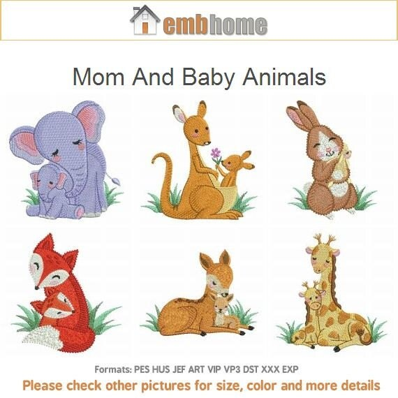 Mom and baby animals machine embroidery designs instant