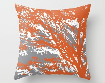 Rust Grey Pillow Etsy