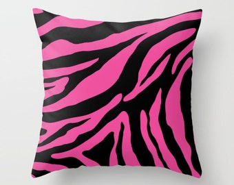 Zebra Pillow Cover - Zebra Cushion Cover - Pink and Black Zebra Pillow Cover - Animal Print Decorative Pillow - By Aldari Home