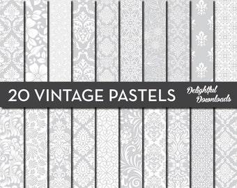 "Gray Pastel Floral Digital Paper ""20 VINTAGE PASTELS"" with 20 light gray floral damask digital papers for scrapbooking, cards, prints."