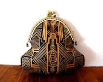 Art deoc purse / 1920s / black / tan purse / gold / metallic / geometric print / small cotton purse / lined purse / clasp coin purse