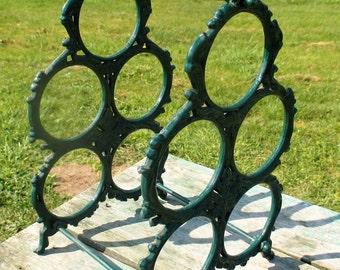 Vintage Green Iron Wine Rack Bottle holder 5 Bottles
