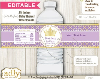DIY Editable Purple Princess Water Bottle Wrapper, Label Digital File, print at home for birthday, baby shower, baptism Royal - oz12bsP5c