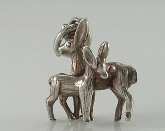 Vintage 3D Silver Deer Charm