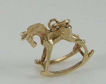 3D 9ct Gold Rocking Horse Charm