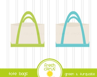 Preppy Beach Tote Bag Canvas Tote Clip Art Turquoise and Green