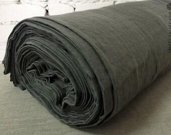 Softened  light graphite grey linen fabric-Medium grey linen-Dense, light weight thick linen for bedding, clothing