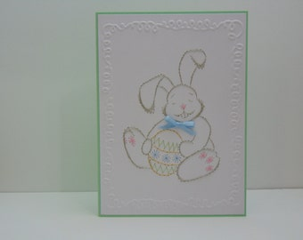 Easter Bunny with Blue Bow Easter Card