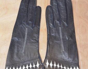 Vintage Estate Brown White Leather Gloves