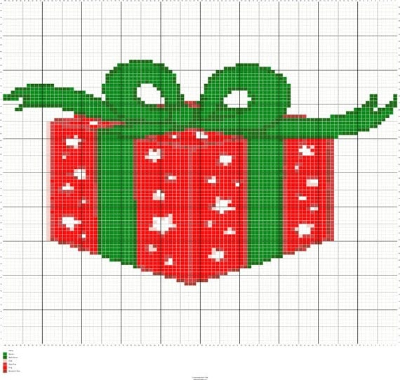 Knitting Design Graph : Knitting christmas present chart pattern by fadesigncharts