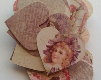 Shabby Chic /Vintage Style Scrap Booking Romantic Heart Embellishment Die Cut Outs