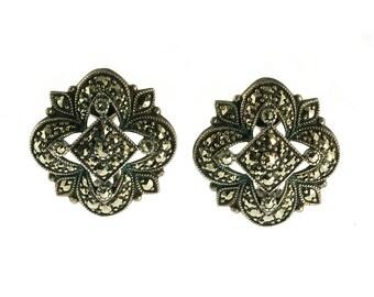 Sterling Quatrefoil Marcasite Earrings