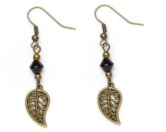 Bronze Beaded Leaf Earrings | Leaf Charm Earrings | Long Dangle Earrings |