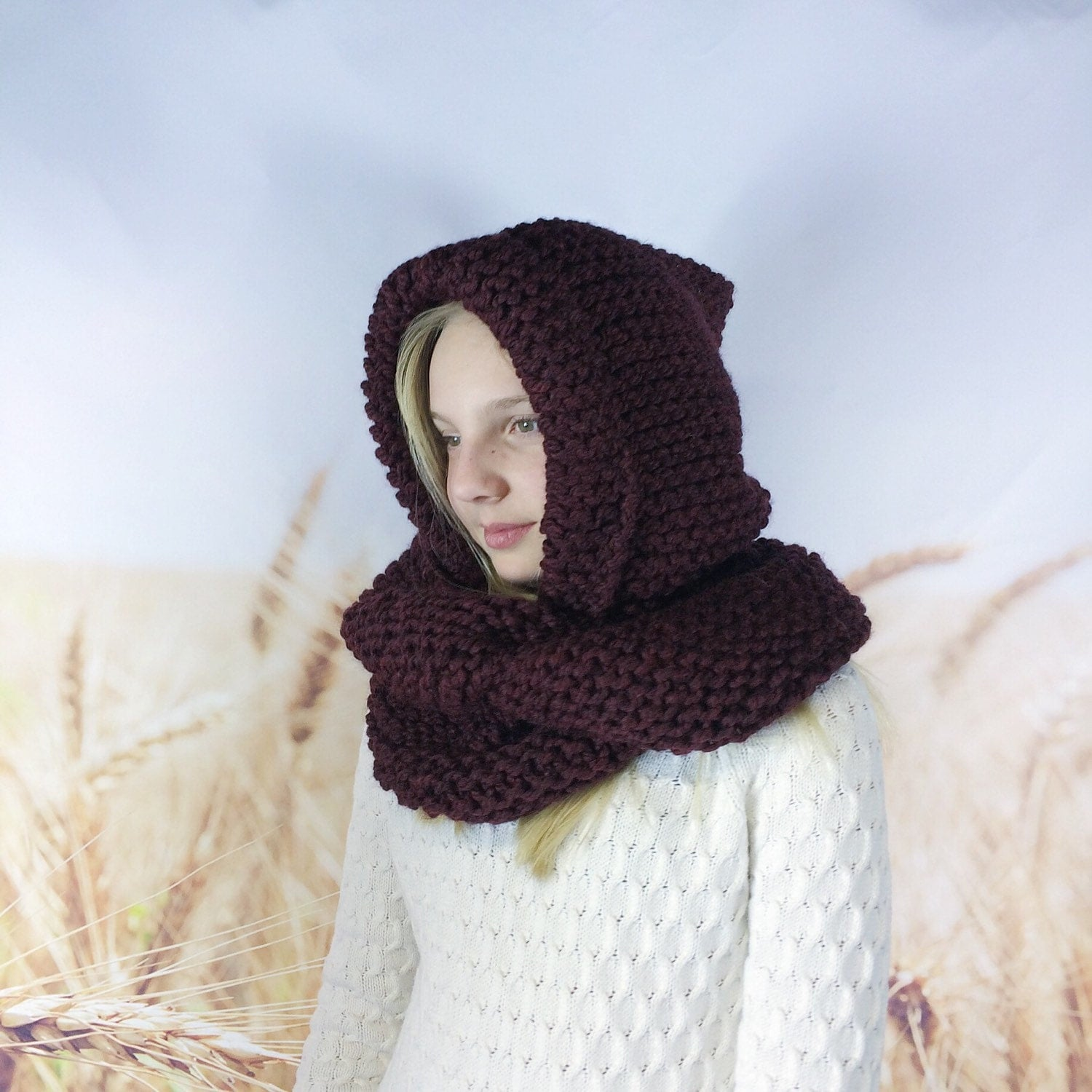 Kids Hooded Infinity Scarf, Hooded Cowl Scarf for Kids, Chunky Knit ...