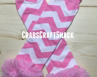 Baby Legwarmers - Tulle Chevron Pink (5109)