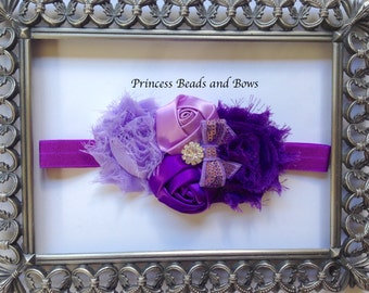 Shades of Purple Floral Headband, Purple  Shabby Chic Flower Headband,  Baby Headband, Girls Headband, Newborn Headband