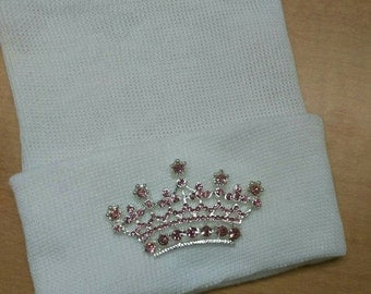 Newborn Hospital Hat EXCLUSIVE. White or Pink and Hat with Pink Rhinestone Tiara. Her Very 1st Tiara Keepsake