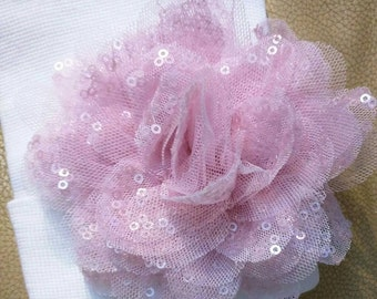 Newborn Hospital Hat W/ Pink Sequin Flower White Newborn Hat for Your Baby. Every Baby Girl Should Have One! 1st Keepsake. Moms Love