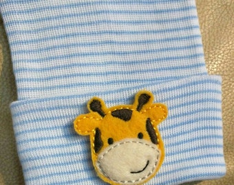 Newborn Hospital Hat. Baby Beanie. Giraffe Newborn Hospital Hat.  Newborn Beanies. Great Gift. Cute photo Prop. For Every Baby Boy!