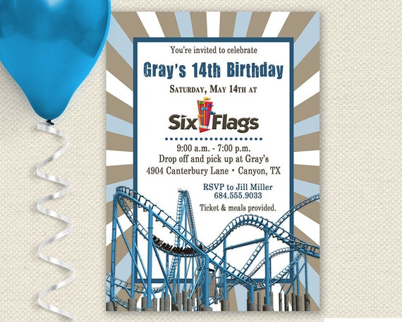 Amusement Park Invitation Theme Park Invitation Carnival