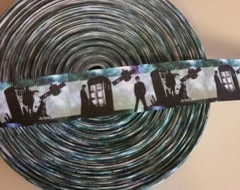 Doctor Who 1 inch grosgrain ribbon 2 yards