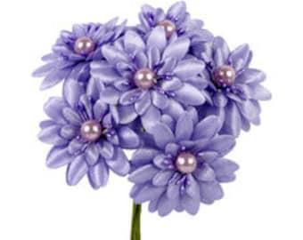 6 Pcs Daisy Purple Fabric Flower Bouquet Flowers Supplies Wedding Artificial Flower Silk Flower Gerbera Daisy