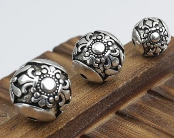 925 silver carved round spacer beads thai sterling silver ball beads 9mm 12mm 14mm Y131
