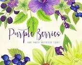 wedding watercolor flower clipart, purple flowers watercolor digitals, purple berries florals for invites, handpainted clipart by SLS Lines