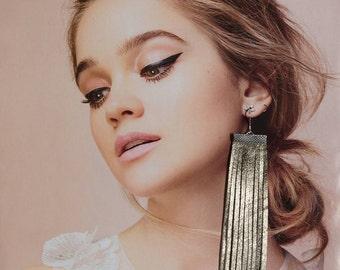 Silver Leather Fringe Earrings-Handcut Fringe Earrings-Elegant Jewerly-Boho Bussiness Woman