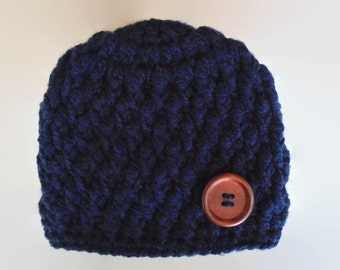 Navy baby boy hat, newborn boy hat, newborn beanie, navy newborn hat, crochet baby hat, newborn boy outfit ,take home outfit, navy blue hat