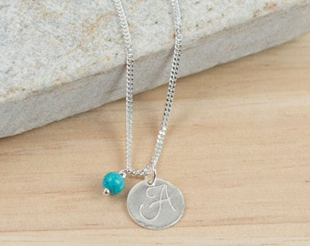 Initial Necklace - personalised silver necklace - custom hand stamped pendant - birthstone necklace - script monogram initial necklace