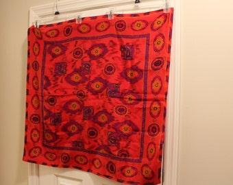 Vintage Red Silk Scarf by Jones New York