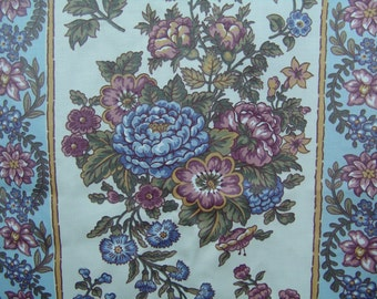 SALE 1.6 yds Waverly upholstery fabric vintage cotton  floral blue pink curtain cushion