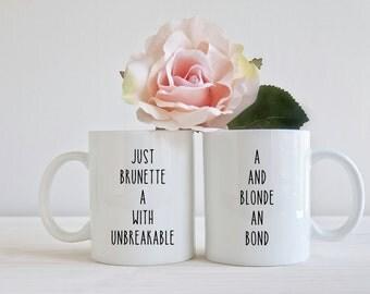 Best friends mug set 11oz unique gift brunette blonde