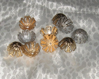Vintage Filigree Bead Caps - 18mm - Silver and Gold