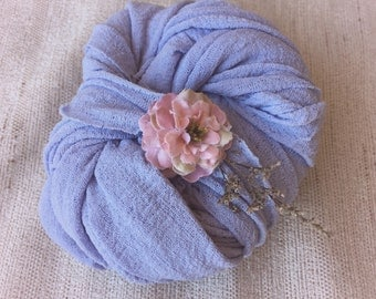 Stretch knit wrap and tie back