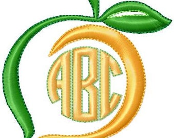 Machine Embroidery Design Peach Monogram Frame - comes in 6 sizes