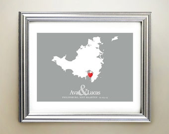 Sint Maarten Custom Horizontal Heart Map Art - Personalized names, wedding gift, engagement, anniversary date