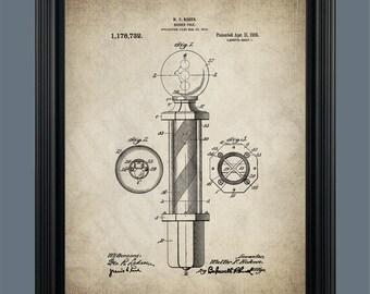 Vintage Barber Pole Patent Print - Barber Pole Illustration - Barbershop Art - Barber Gift - Barber Poster - Barber Shop Decor - #105