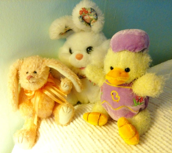 Easter Spring Plush Bunnies Chick Lot 3 TY Beanie Camelia