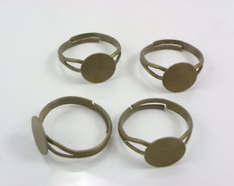 10PCS Antique Bronze Brass  nickel, lead & cadmium Free Adjustable Base Ring With 10MM Pad