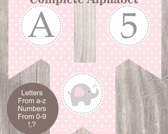 Printable Banner, Pink Elephant Baby Shower Banner,Instant Download, All Letters and Numbers Pink Polka Dots Banner, Baby Shower Decor