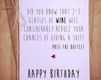 Did you know...Glass of wine Funny greeting card blank novelty humour Happy Birthday humor