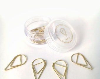 Paperclips, gold - tear drop shape, set of 10