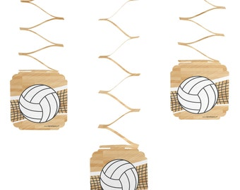 Set of 6 Bump, Set, Spike - Volleyball Hanging Decorations - Party Decorations