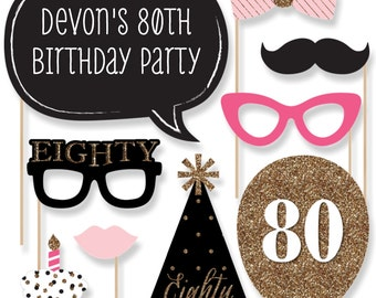 Chic 80th Birthday – Pink, Black, and Gold Party Photo Booth Props - Adult Birthday Party Photobooth Kit with Custom Talk Bubble - 20 Pieces