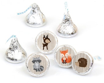 Hershey Kiss® Stickers - Woodland Creatures - Round Candy Label Party Favors - Woodland Animals - Hershey Kisses Labels - 108 per Sheet
