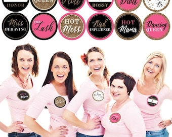 Bachelorette Party Badges - Set of 12 Girls Night Out Name Tag Stickers