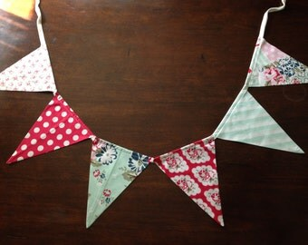 Shabby Chic Teal & Red Bunting - Hand Sewn - Beautiful Banner