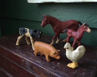 Lovely Early Antique Primitive Farm Animals! Horses, cow, pig and chicken! Very unusual! Toys!